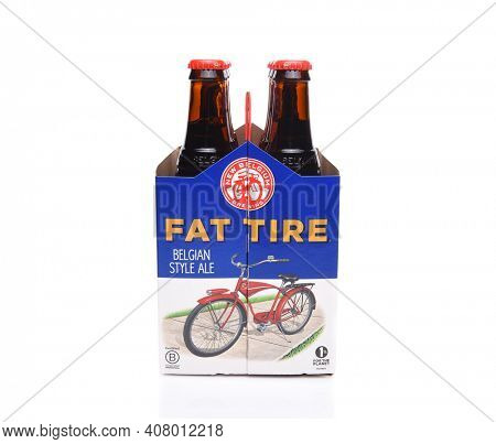 IRVINE, CALIFORNIA - December 14, 2017: Fat Tire Amber Ale. 6 Pack of of Fat Tire Amber Ale from the New Belgium Brewing Company, of Fort Collins, Colorado.