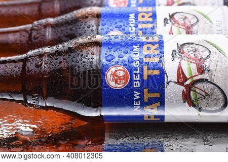 IRVINE, CALIFORNIA - MARCH 10,  2018: Fat Tire Amber Ale. Closeup of bottles of Fat Tire Amber Ale from the New Belgium Brewing Company, of Fort Collins, Colorado.