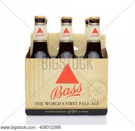 IRVINE, CA - MAY 25, 2014: A 6 pack of Bass Ale. The Bass Brewery was founded in 1777 by William Bass, in Trent, England is now owned by Anheuser-Busch InBev.