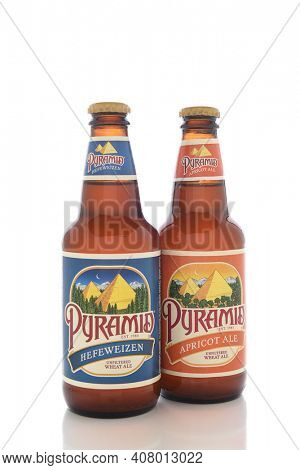 IRVINE, CALIFORNIA - AUGUST 25, 2016: Two Pyramid Breweries Ales. Pyramid Breweries, Inc., is a brewing company headquartered in Seattle, Washington.