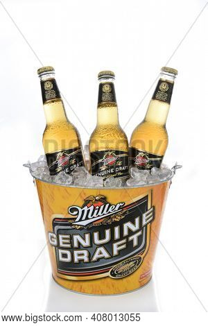 IRVINE, CA - JANUARY 15, 2015: A branded ice bucket of Miller Genuine Draft Beer. MGD is actually made from the same recipe as Miller High Life with the exception that MGD is cold filtered.