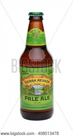 IRVINE, CA - MAY 25, 2014: A single bottle of Sierra Nevada Pale Ale on white. Sierra Nevada Brewing Co. was established in 1980 by homebrewers in Chico, California,