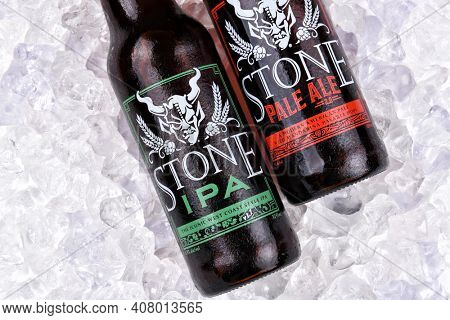 IRVINE, CALIFORNIA - AUGUST 25, 2016: Stone Ales in ice. From the Stone Brewing Company, in Escondido, the largest brewery in Southern California.
