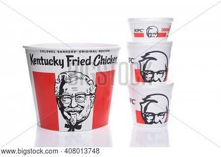 IRVINE, CALIFORNIA - AUGUST 21, 2017:  Kentucky Fried Chicken Bucket and Sides. KFC is an American fast food restaurant chain that specializes in fried chicken.