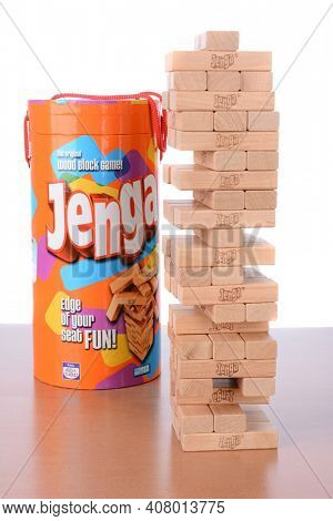 IRVINE, CA - May 19, 2014: A set of Jenga Blocks. Jenga is the original wood block game from Parker Brothers a division of Hasbro. Jenga is derived from a Swahili word meaning 'to build'.