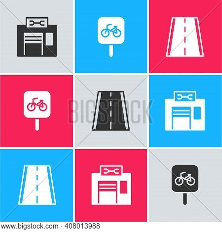 Set Bicycle Repair Service, Parking And Lane Icon. Vector