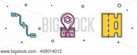 Set Bicycle Pedals, Repair Service And Lane Icon. Vector