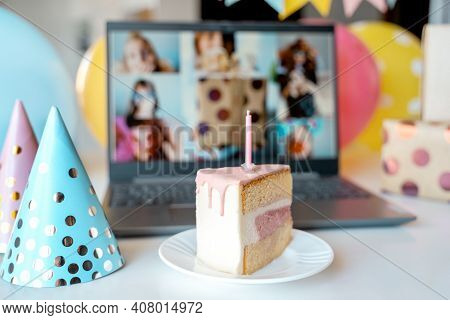 Kids Virtual Birthday,home Party.piece Of Cake With Candle.online Conference,video Call In Laptop,co