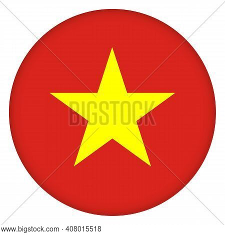 Flag Of Vietnam Round Icon, Badge Or Button. Vietnamese National Symbol. Template Design, Vector Ill