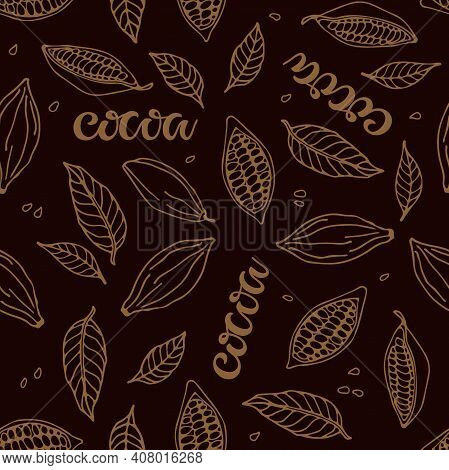 Seamless Pattern With Cocoa Beans, Cocoa Leaves, Cocoa Lettering. Hand Drawn Vector Sketch On Dark B