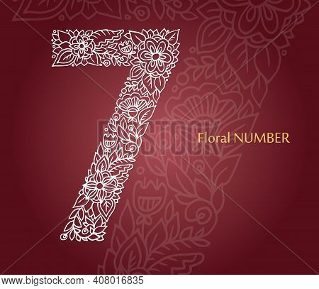 Floral Number 7 Made Of White Line Leaves And Flowers On Burgundy Background. Typographic Element Fo