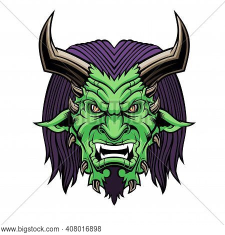Devil Head. Vector Illustration For Use As Print, Poster, Sticker, Logo, Tattoo, Emblem And Other.