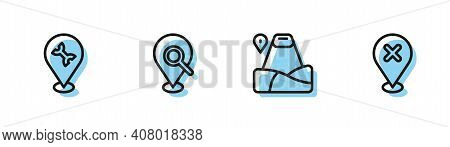 Set Line Location With Mountain, Car Service, Search Location And Cross Mark Icon. Vector