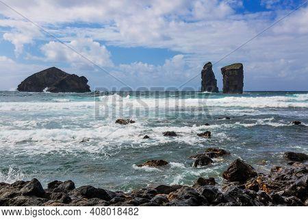Coastal view, rock formations and Atlantic Ocean, Mosteiros beach, Sao Miguel Island, Azores, Portugal