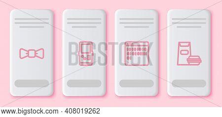 Set Line Bow Tie, Tetris, Binary Code And Burger. White Rectangle Button. Vector