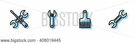 Set Line Paint Brush, Screwdriver And Wrench, Adjustable And Wrench Spanner Icon. Vector