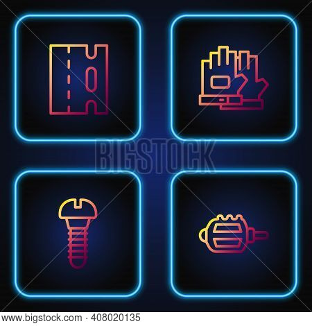 Set Line Bicycle Pedal, Metallic Screw, Lane And Gloves. Gradient Color Icons. Vector