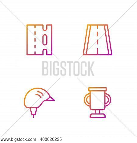 Set Line Award Cup With Bicycle, Bicycle Helmet, Lane And . Gradient Color Icons. Vector