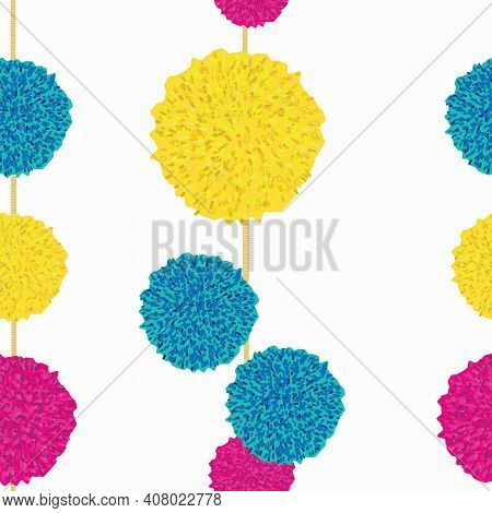 Vector Seamless Pattern, Hanging Pompoms, Turquise, Pink And Yellow.