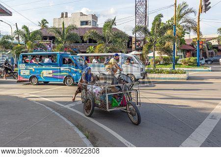 Puerto Princesa, Palawan Island, Philippines - September 27, 2018: Road Traffic On Puerto Princesa T
