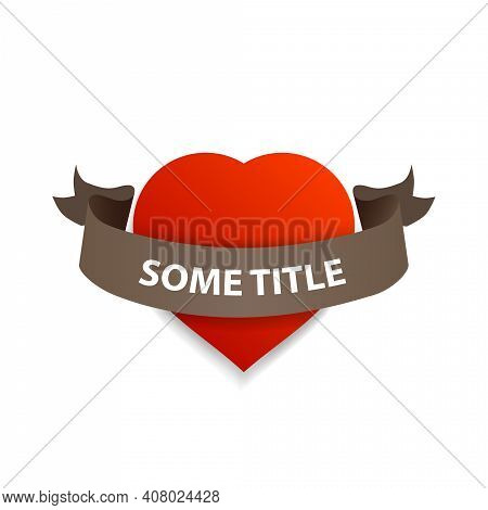 Vector Red Volumetric Heart With Brown Ribbon Around For Your Title.