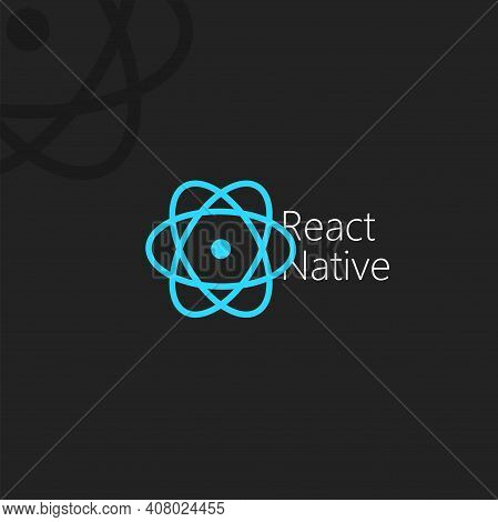 React Native, Dark Poster With Blue Vector Icon On Black Background