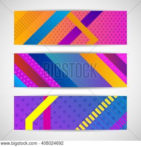 Banners Set For Business With Colorful Geometric Shapes. Vector Illustration. Eps 10