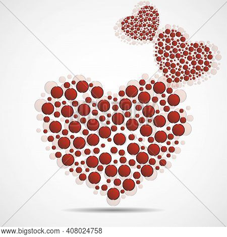 Abstract Heart With Red Circles. Valentines Day Symbol. Vector Illustration