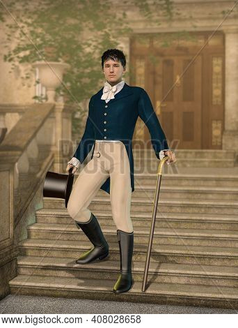 Elegant Young Gentleman Dandy Dressed In Regency Fashion Holding A Hat And Walking Cane On The Foots