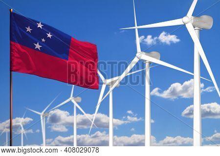 Samoa Alternative Energy, Wind Energy Industrial Concept With Windmills And Flag - Alternative Renew