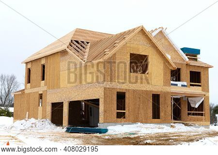 Construction Of A Plywood House In Winter New Frame