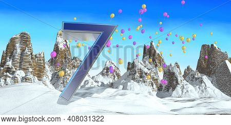 Number 7 In Thick Blue Font On A Snowy Mountain With Rock Mountains Landscape With Snow And Balloons