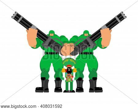 Angry Dictator With Army Security. Evil Military Ruler. Boss With Unlimited Power. Vector Illustrati
