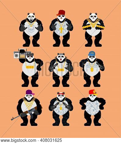Panda Gangster Gang Set. Cool Bear Gang Of Bandits. Swag Gangsta. Animal Guy Rapper