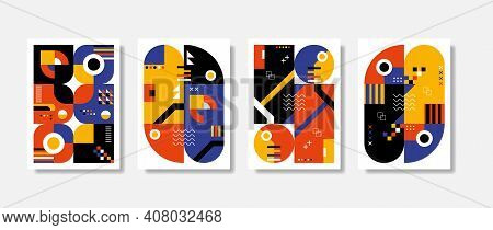 Poster Postmodern Inspired Artwork Of Vector Abstract Symbols With Bold Geometric Shapes, Useful For