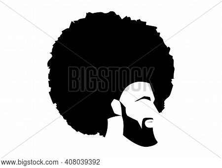 African Black Man Portrait With Afro Curly Design, Barber Shop And Hairstyle. Healthy Sporty Young B