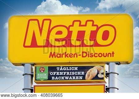 Marburg, Germany - Feb 13, 2021: Netto Logo - Netto Is A German Discount Supermarket Chain Owned By