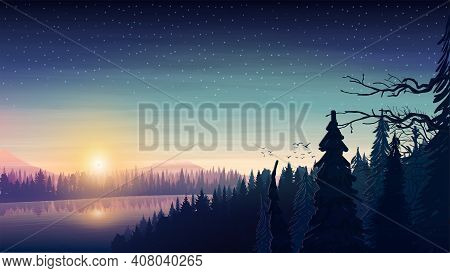 Landscape With A Wide River Flowing Through A Dense Pine Forest In A Hilly Area At Sunrise. Sunrise