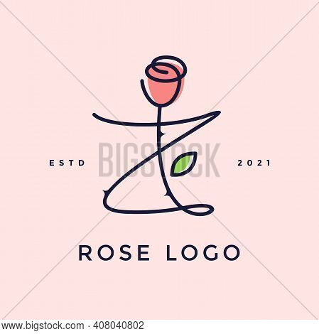 Beauty And Charming Simple Illustration Logo Design Initial Z Combine With Rose Flower.