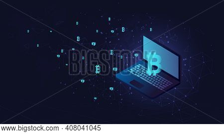 Bitcoin And Blockchain Concept.digital Money Market, Investment, Finance And Trading. Laptop With Fl