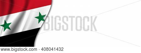 Syria Flag On White Background. White Background With Place For Text Near The Flag Of Syria.