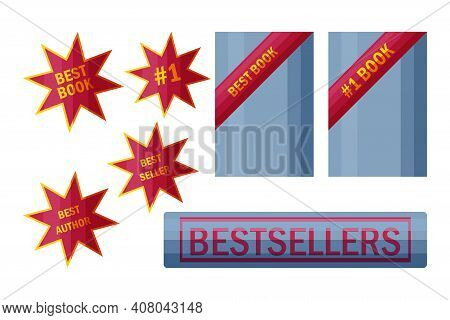 Best Seller Stickers And Signs. Labels For Top Book Sellers In Cartoon Style. Vector Illustration Is