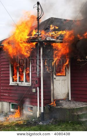 Abandoned House In Flames