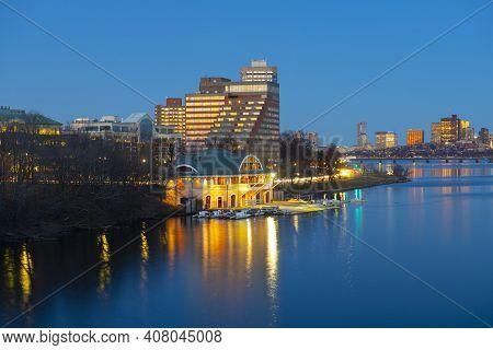 Boston Skyline At Night From Boston University Bridge, Boston, Massachusetts, Usa. City Of Cambridge