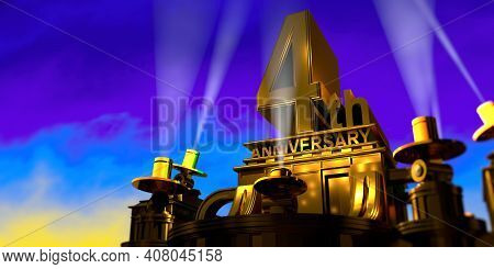 4th Anniversary In Thick Letters On A Large Golden Antique Style Building Illuminated By 6 Floodligh