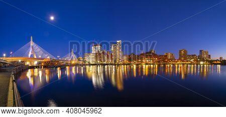 Boston Leonard P. Zakim Bunker Hill Memorial Bridge And Charles River Panorama At Night With Twiligh