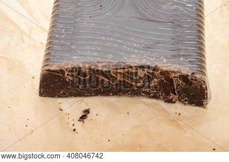Broken Into Several Parts Pieces Of Chocolate From Cocoa, Natural Food From Cocoa, Pieces Of Large N