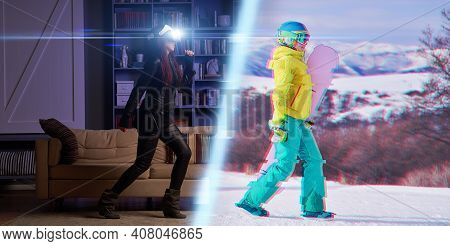 Woman Uses Vr Headset To Go Snowboarding In Virtual Reality. The Concept Of Virtual Reality, Simulat