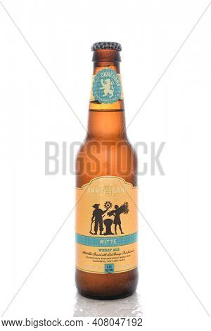 IRVINE, CA, AUGUST 25, 2016: A bottle of Ommegang Wheat Ale. Brewery Ommegang is located near Cooperstown, New York, that specializes in Belgian-style ales