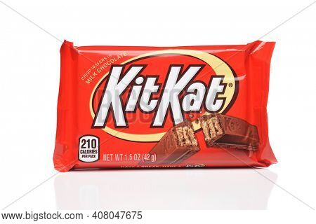 IRVINE, CALIFORNIA - 6 OCT 2020: A Kit Kay Candy Bar, from Hershey's.